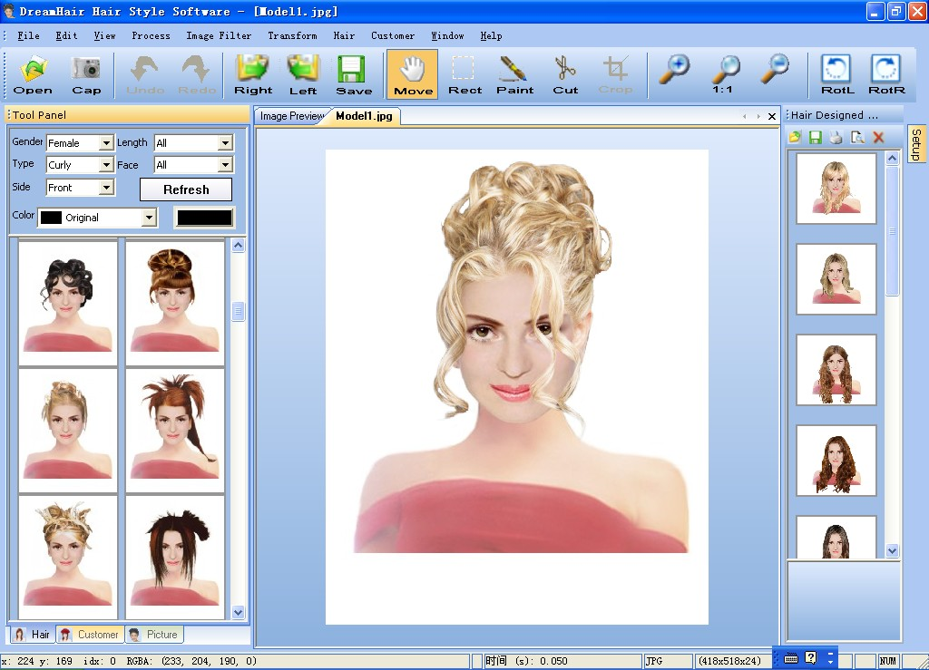 hair and makeup styles. DreamHair Hair style Software