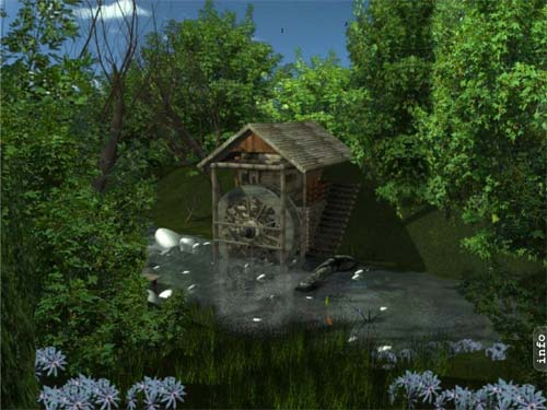 SS Water Mill - Animated Desktop Screensaver Image