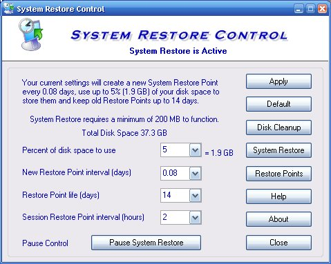 Filegets system restore control screenshot windows xp for 12 hour window birth control