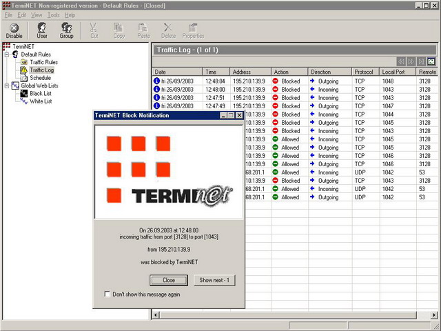 TermiNET - Personal Firewall Image