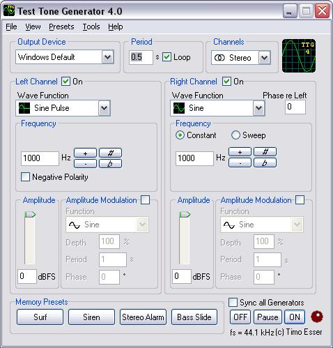 FileGets: Test Tone Generator Screenshot - The Test Tone Generator