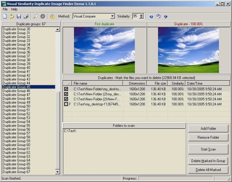 Visual similarity duplicate image finder crackle